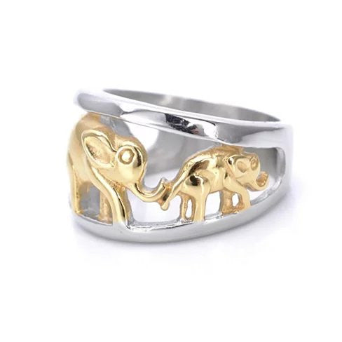 Golden Elephants Ring From TRUNK SHOW Collection - VistaShops - 2
