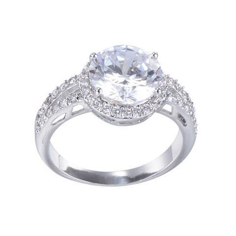 Love Struck Diamond Crystals Platinum Plated Halo Ring - VistaShops - 2