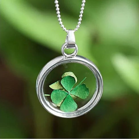 Lucky U Green Clover Leaf Glass Necklace