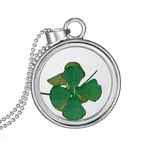 Lucky U Green Clover Leaf Glass Necklace - VistaShops - 2