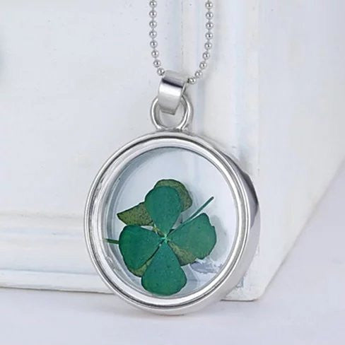Lucky U Green Clover Leaf Glass Necklace - VistaShops - 3