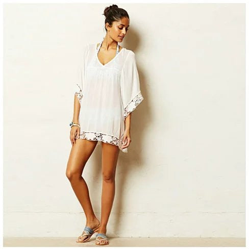Mid-Summer Night White Crochet Lace Tunic - VistaShops - 1
