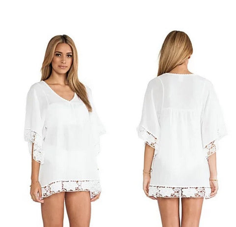 Mid-Summer Night White Crochet Lace Tunic - VistaShops - 2