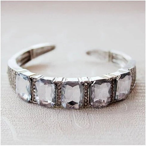 Majestic Diamond Crystal Open Ended Bracelet