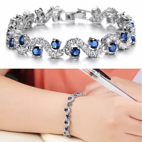 OCEANA Diamond Crystal Bracelets In White Gold Plating - VistaShops - 1