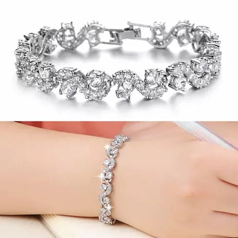 OCEANA Diamond Crystal Bracelets In White Gold Plating - VistaShops - 4