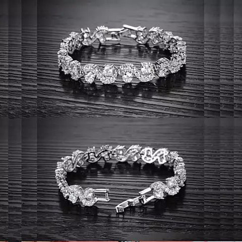 OCEANA Diamond Crystal Bracelets In White Gold Plating - VistaShops - 5