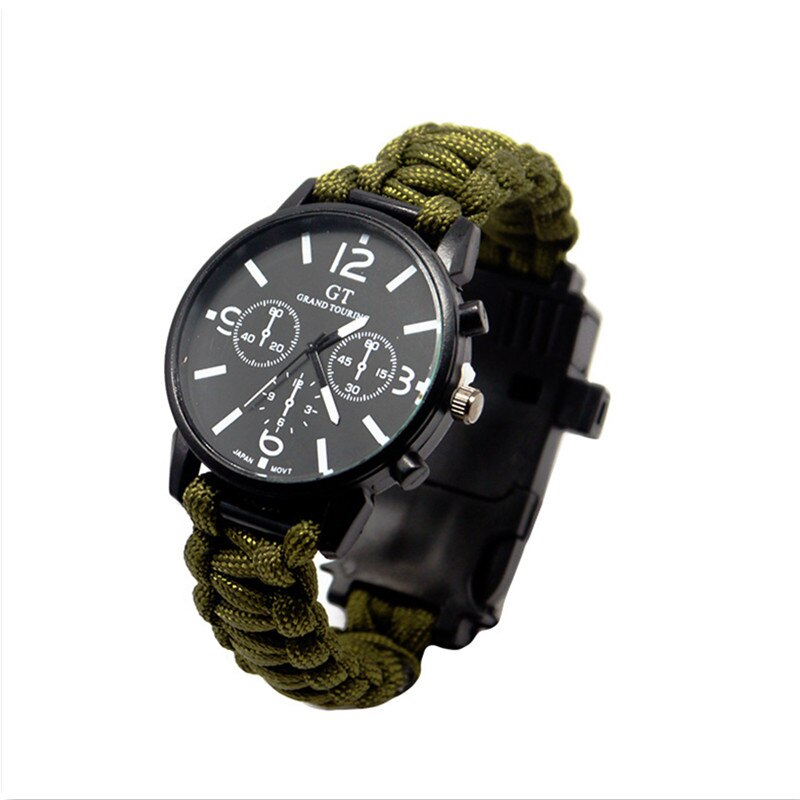 Outdoor Multi function Camping Survival Watch Bracelet Tools With LED Light