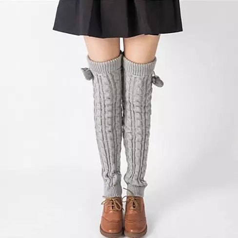 POMPOM LOVE Adorable Knee High Socks - VistaShops - 2