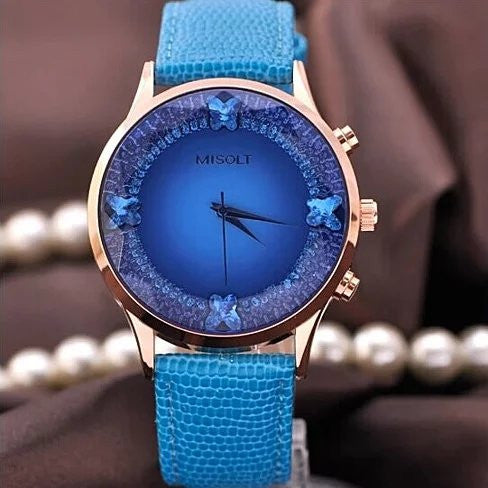 Papillon The Blue Butterflies Swarovski Australian Crystals Lux Watch - VistaShops - 1