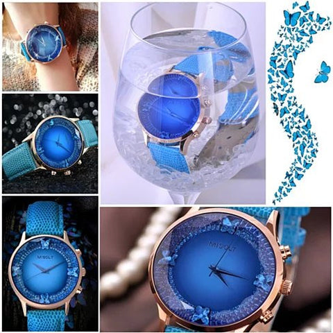 Papillon The Blue Butterflies Swarovski Australian Crystals Lux Watch - VistaShops - 3