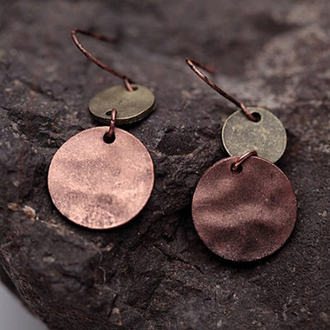 Patina Earrings In Bronze Finish With Age-Old Rustic Charm