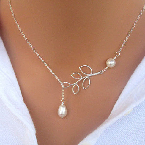 Pearls Of Joy Lariat Necklace In White Gold And Yellow Gold Plating - VistaShops - 1