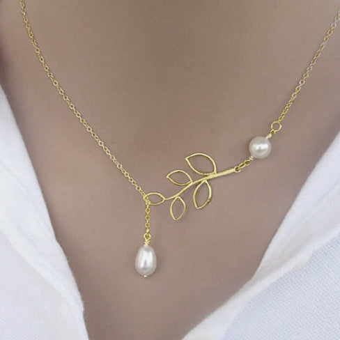 Pearls Of Joy Lariat Necklace In White Gold And Yellow Gold Plating - VistaShops - 3