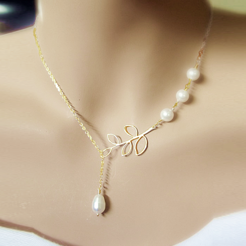 Pearls Of Joy Lariat Necklace In White Gold And Yellow Gold Plating - VistaShops - 4