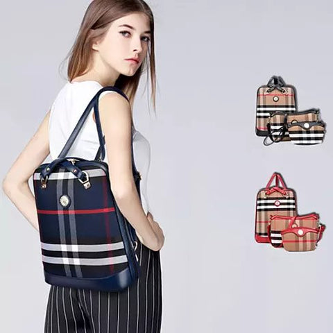 Posh And Cool Convertible 3 in 1 Backpack in Plaid - VistaShops - 1