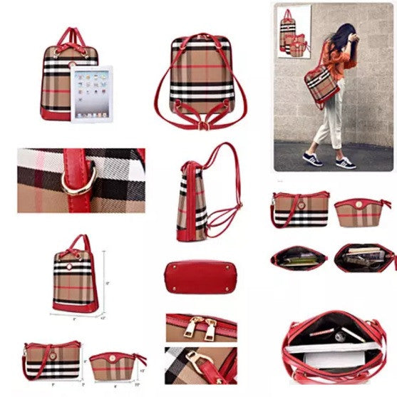 Posh And Cool Convertible 3 in 1 Backpack in Plaid - VistaShops - 3