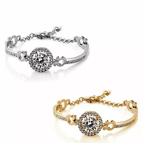 Queen's Luck Swarovski Crystal Bracelets In White And Yellow Gold Overlay