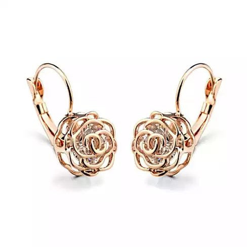 shopify-ROSE IS A ROSE 18kt Rose Crystal Earrings In White Yellow And Rose Gold Plating-1