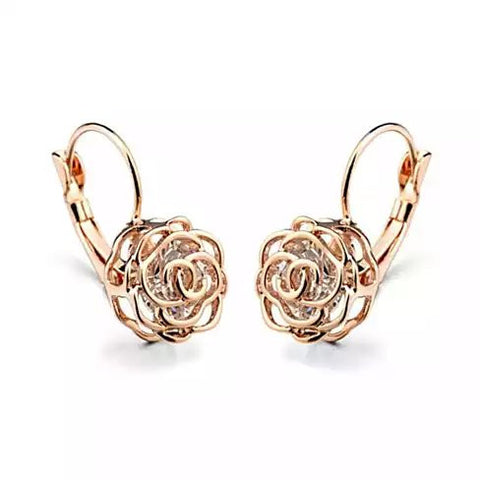 ROSE IS A ROSE 18kt Rose Crystal Earrings In White Yellow And Rose Gold Plating - VistaShops - 1
