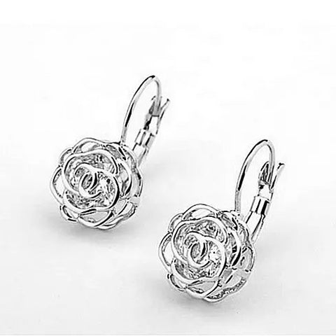 ROSE IS A ROSE 18kt Rose Crystal Earrings In White Yellow And Rose Gold Plating - VistaShops - 2