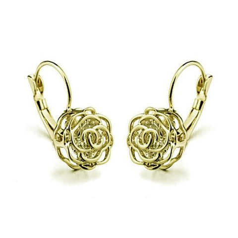 ROSE IS A ROSE 18kt Rose Crystal Earrings In White Yellow And Rose Gold Plating - VistaShops - 3
