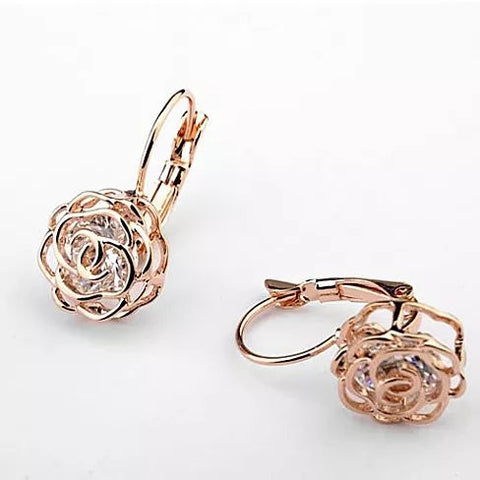 ROSE IS A ROSE 18kt Rose Crystal Earrings In White Yellow And Rose Gold Plating - VistaShops - 4