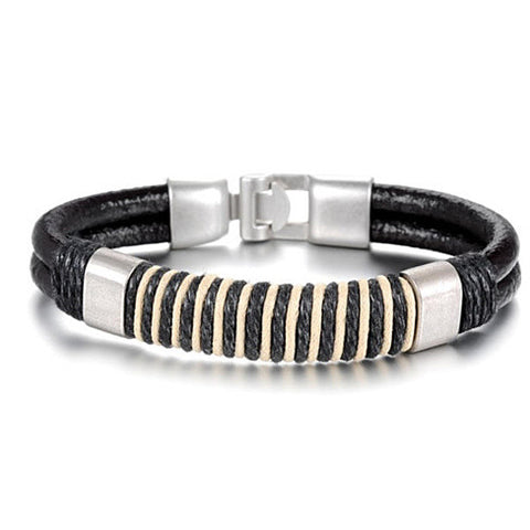 Retro Black & White Leather Bracelet - VistaShops - 3