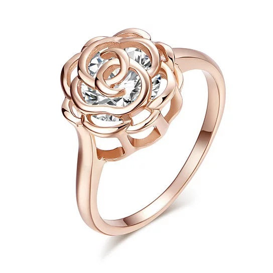 Rose Is A Rose Set of 4 or Rings In 18kt Rose Crystals In White Yellow And Rose Gold Plating