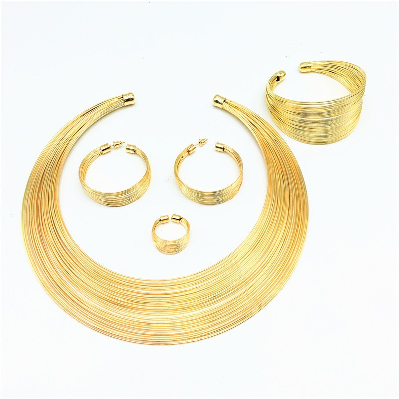 Simplicity Set Of Necklace Bracelet Ring And Earrings Italian Design