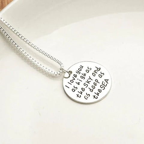 Sky High And Sea Deep Love Quote Collection Necklace - VistaShops - 2
