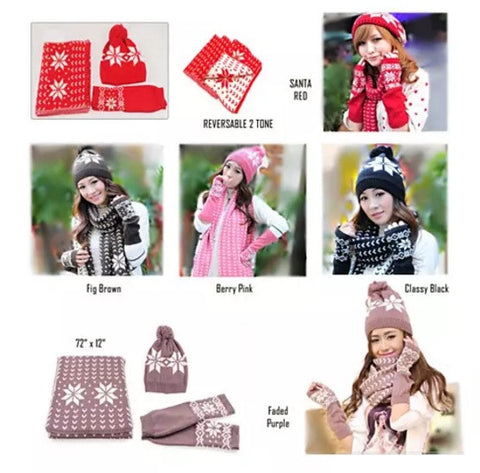 Snow Angel 3 pc XMas Set of Scarf, Hat And Gloves In 2 Tones - VistaShops - 2