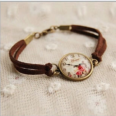 TEA TIME Vintage Inspired Floral Watch Style Bracelet - VistaShops - 1