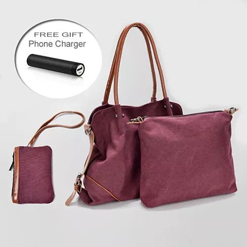 TRIBEKA 3 in 1 Shoulder Bag Plus Free Smartphone Charger From The Journey Collection - VistaShops - 1