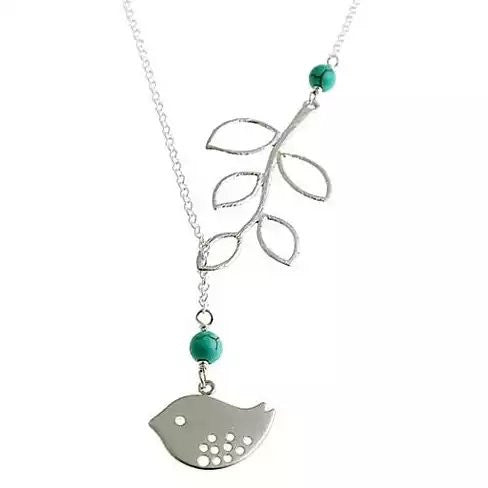 shopify-TURQUOISE SPRING Beautiful Bird Lariat Necklace-2