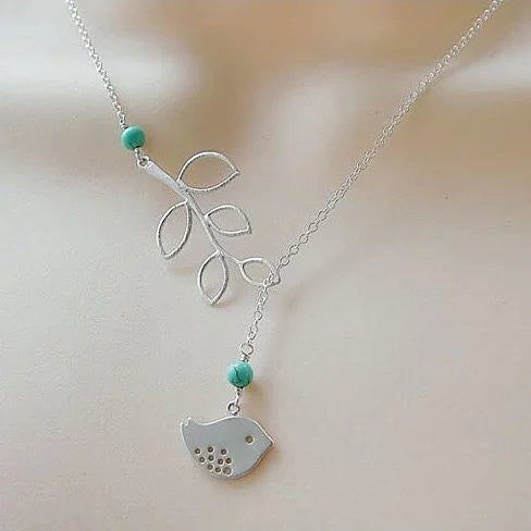 shopify-TURQUOISE SPRING Beautiful Bird Lariat Necklace-3