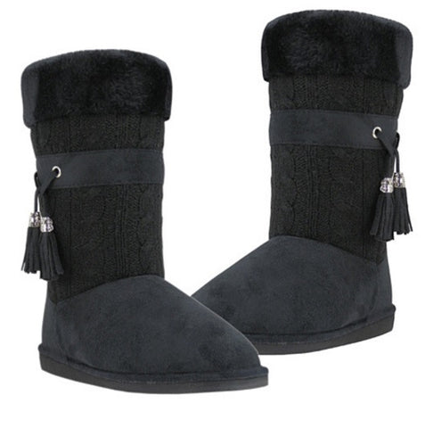 Toasty Toes Plush Knit Faux Fur Boots - VistaShops - 1