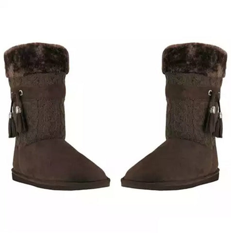 Toasty Toes Plush Knit Faux Fur Boots - VistaShops - 2