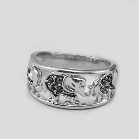 Trunks And Tails Playful Elephants Ring - VistaShops - 1