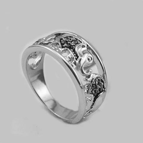 Trunks And Tails Playful Elephants Ring - VistaShops - 2