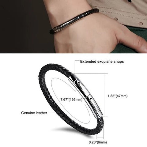 VERGO Versatile Genuine Leather Bracelet With Magnetic Closure For Men And Women - VistaShops - 2