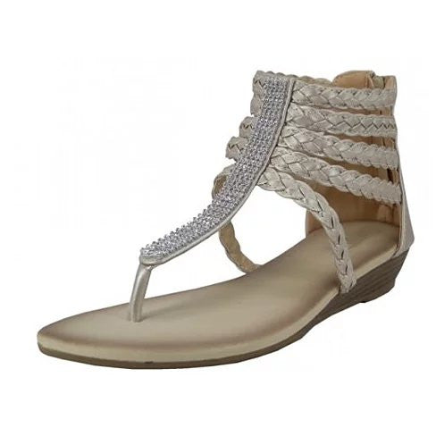 VERY IVORY BRAIDED RHINESTONE GLADIATORS - VistaShops