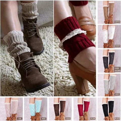 Vintage Style CableKnit At Your Feet Leg Warmer Socks With Lace - VistaShops - 2