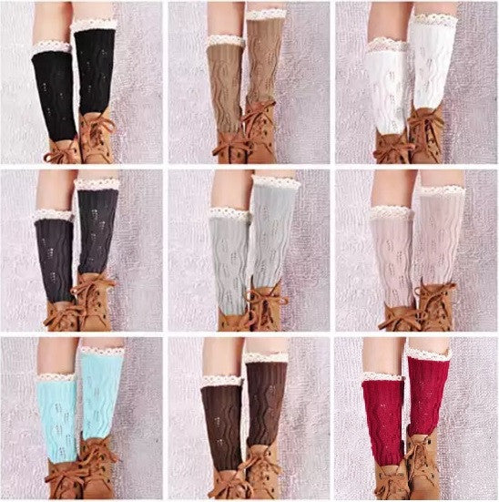 Vintage Style CableKnit At Your Feet Leg Warmer Socks With Lace - VistaShops - 3