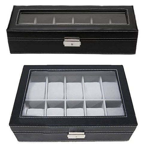 WATCH VALET Glass Top Watch Boxes For Collection Of 6 or 10 Watches