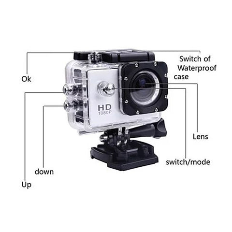 All PRO Action Sports Camera with HD 1080P and WiFi *18 pcs of Accessory included* - VistaShops - 3