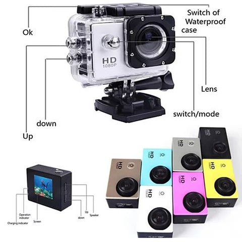 All PRO Action Sports Camera with HD 1080P and WiFi *18 pcs of Accessory included* - VistaShops - 5