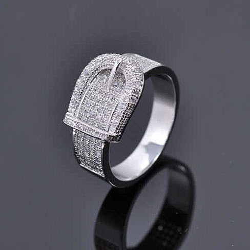 Illusion - Belt Style Ring Crafted In Hand Set CZ Stones On Sterling Silver - VistaShops - 3