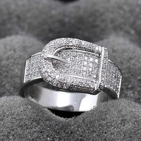 Illusion - Belt Style Ring Crafted In Hand Set CZ Stones On Sterling Silver - VistaShops - 1