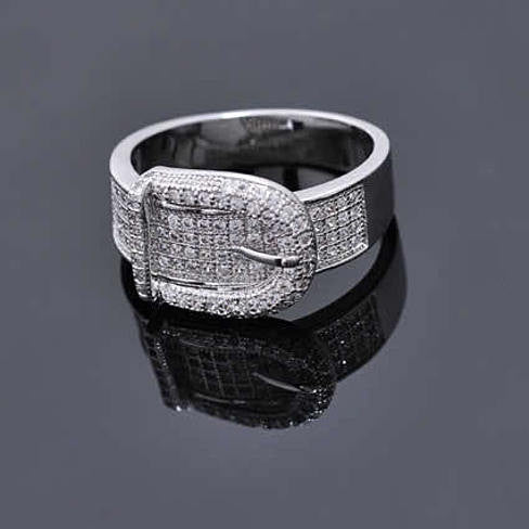 Illusion - Belt Style Ring Crafted In Hand Set CZ Stones On Sterling Silver - VistaShops - 2